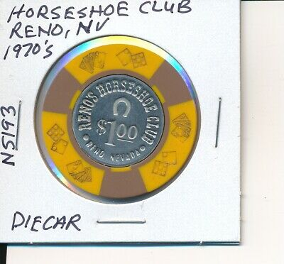 $1 CASINO CHIP HORSESHOE CLUB RENO NV 1970's DIECAR #N5193 GAMBLING TOKEN GAMING
