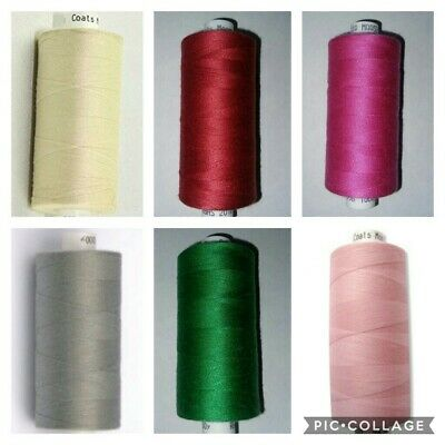 + 10x Reels Coats Moon Sewing Machine Polyester Overlocking Thread Cotton 62,9