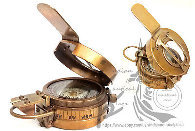 Solid Brass Military Engineering Prismatic Compass Brass Vintage Compass