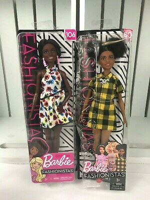 Barbie Fashionista #106 African American Floral Dress-#80 Cheerful.Lot 2