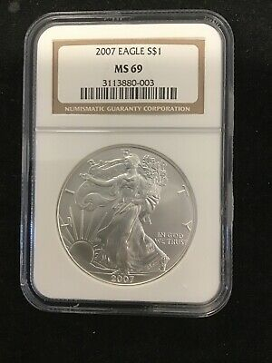 2007 Silver American Eagle NGC MS69