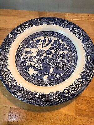 Vintage Woods Ware Willow Wood Sons Blue White Willow Plate