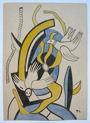 Fernand Leger Unique handmade drawing painting. Ink and watercolour