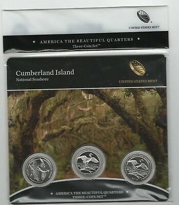 Rare 2018 Cumberland Island National Seashore PDS mints ATB 3-coin set quarters