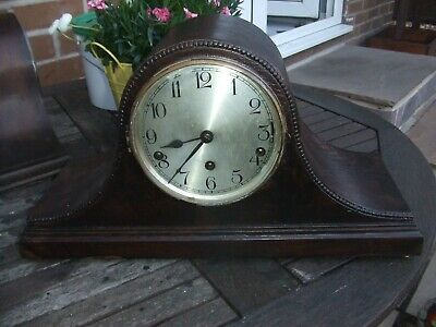 VINTAGE CHIMING MANTEL CLOCK Whittington & Westminster OAK NAPOLEON HAT SHAPED