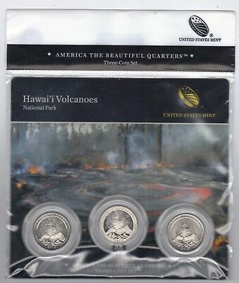 BU sealed 2012 Hawaii Volcanoes National Park  PDS mints ATB 3-coin set quarters