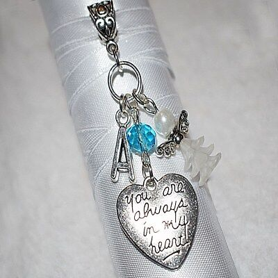 Personalised Any Initial Something Blue Guardian Angel Wedding Bouquet Charm