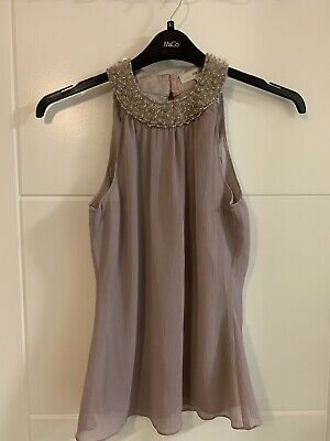 Ladies Next Pale Pink Embellished Party Top Size 8