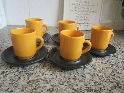 Vintage Retro Set of 5 Ray Cook Signed Australian Pottery Mugs & Saucers