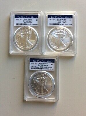 2016/ 2017/ 2018-W Silver Eagle Coin West Mint. Lot Of 3, MS70!