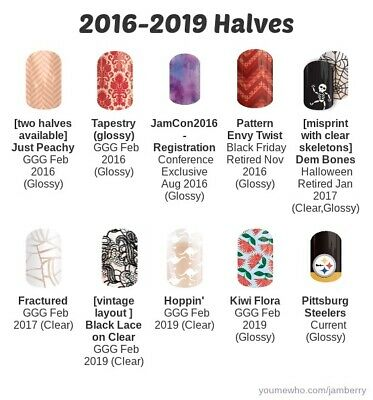 Jamberry Nail Wraps Retired 2017 and 2018, half sheets