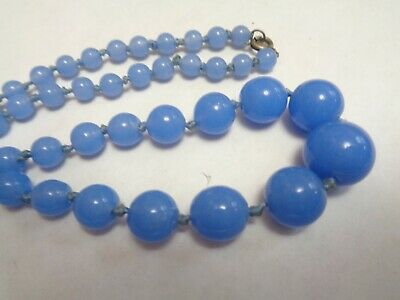 Vintage Antique Hand Knotted  Blue PEAKING GLASS  Beaded Necklace