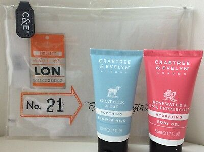 crabtree and evelyn Clear Travel Bag With Goatmilk Lotion & Rosewater Shower Gel