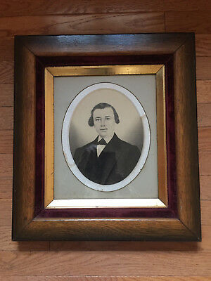 Antique Victorian 19th Century Charcoal Portrait in Oak & Velvet Frame