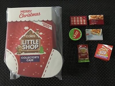 Coles Little Shop Limited Edition Christmas Folder 5 Mini Collectables COMPLETE