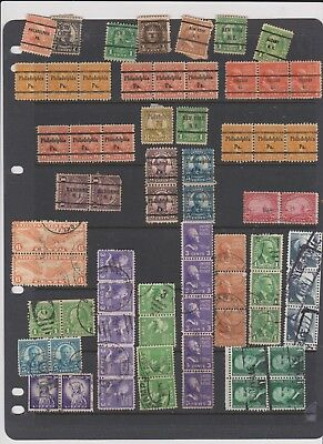 USA awesome PRE CANCEL strips + more stamps