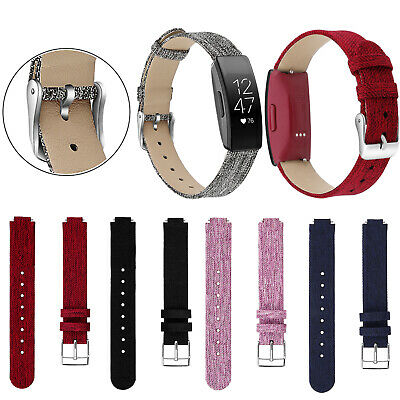 Canvas Leather Replace Watch Strap Wristwatch Band For Fitbit Inspire/Inspire HR
