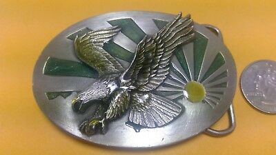 1986 Bald Eagle Belt Buckle Resin Top Unused Siskiyou Buckle Company Made In Usa