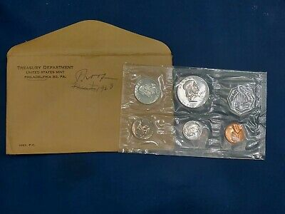 1963 open original envelope 5 COIN FLAT PACK SILVER PROOF SET, Coins in ex Condi
