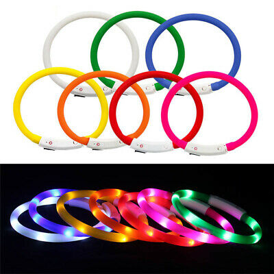 LED Dog Cat Collar Glowing Night Safety Pet Lead Necklace Luminous Bright Collar