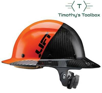 Lift Safety HDF-50C19OC Dax 50/50 Carbon Fiber Full Brim Hard Hat Orange-Black