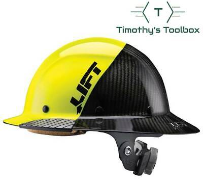 Lift Safety HDF-50C19HC Dax 50/50 Carbon Fiber Full Brim Hard Hat Yellow-Black