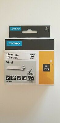Genuine Dymo 18444 Rhino 12mm x 5.5m White Vinyl Tapes