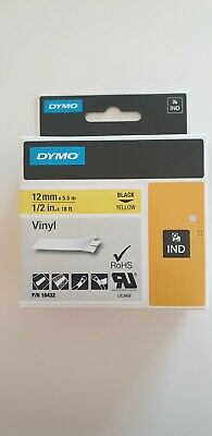 NEW! Dymo 18432 12mm Yellow Vinyl Tape