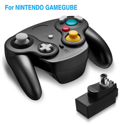 Black Wireless Gamecube Controller With Adapter Wavebird for Classic Wii GC NGC