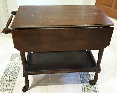 Antique Tray Mobile Tea Trolley with Drop Sides Original