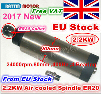 【from EU】2200W 2.2KW ER20 CNC Air Cooled Spindle Motor 24000RPM 400Hz 4 Bearings