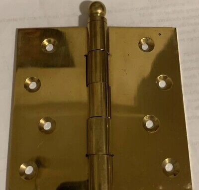 "FIVE Antique-style BRASS DOOR HINGES 3.7"" x 3.7"" Ball VICTORIAN ORNATE, NEW"