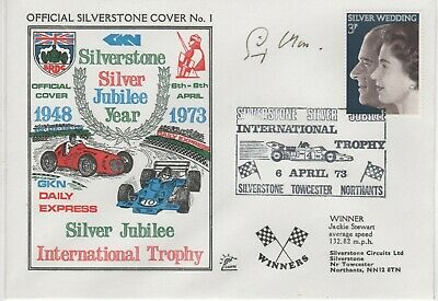 Rare 1973 Silverstone  Jubilee Fdc Signed By Stirling Moss