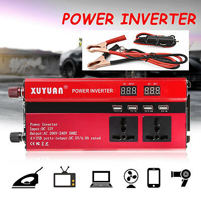 3000/4000/5000W Car Portable Power Inverter 12V- 110V Converter  4Outlet Caravan