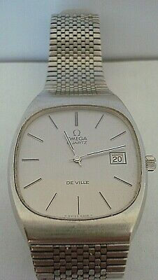 Vintage Good 1973 Gents Stainless Steel Omega De Ville Quartz Bracelet Watch