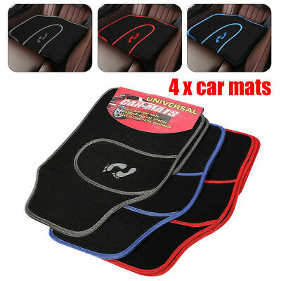 4 Piece Front Rear Red Blue Grey Car Mat Carpet Non-Slip Universal Floor Mats