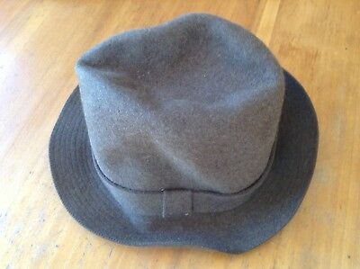 Vintage Men's  Chocolate Brown Viennese Rabbit Felt Hat Size 57