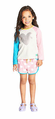 Girls Heart Sweatshirt with Jersey Shorts Holiday/Beach Size 3-4 5-6 6-7 Yrs