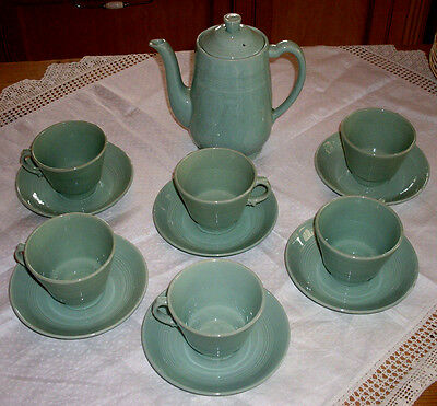 Woods Ware, Beryl, green, Teacoffee pot, 6 cups/saucers. WW2