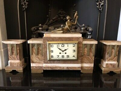 Large Art Deco Marble Clock With Lady And Garnitures