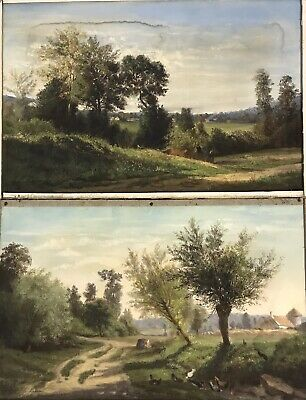 Pair Antique 19th Century pastel paintings signed & dated C Lawson landscapes