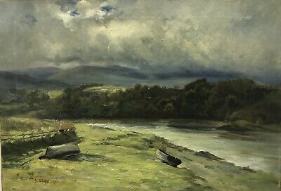 P Osment Antique 19th Century oil painting on canvas signed & dated landscape