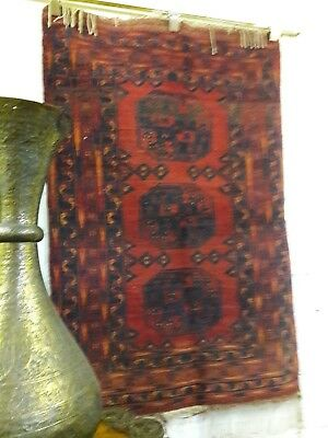 Persian Authentic Antique Bukhara Rug Handknot Wool 1.4 X .9 M With Abrash