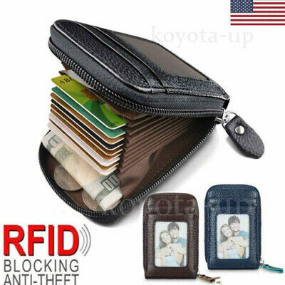 Wallet Genuine Leather Credit Card Holder RFID Blocking Zipper Thin Pocket KY