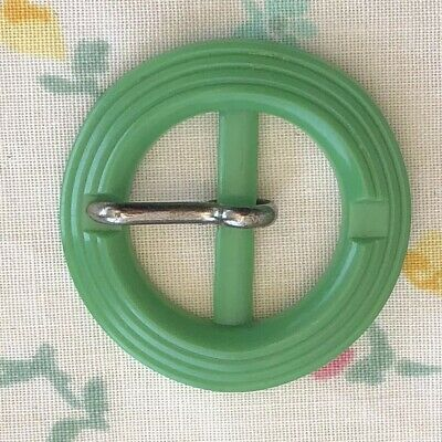 1940s Vintage Buckle Ribbon Belt 1930s 1950s Green Round Retro Dress Old