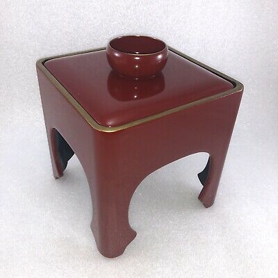 JA12 Vintage Japanese Red Lacquer Wooden Wood Sake Stand