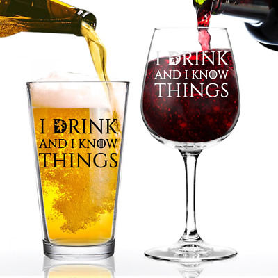 I Drink and I Know Things Beer and Wine Glass Set Game of Thrones Him & Her Set