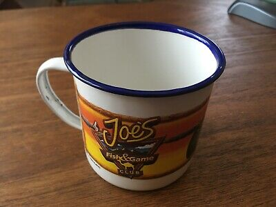 dea039287349 2- 1993 Joe Camel Joe's Fish and Game Club Enamelware Tin Coffee Mug Used