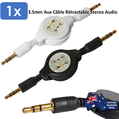 3.5mm Aux Retractable Audio Stereo Male to Male Cable Auxiliary Lead Cord For PC
