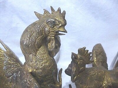 ANTIQUE VINTAGE pair of FRENCH COCKEREL BIRDS gilt metal spelter figures models